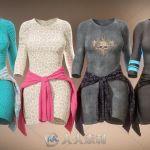 女性时尚舒适简单的T恤连衣裙3D模型合辑