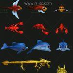 捕鱼游戏美术UI界面资源合集