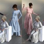 东方女性长裙刺绣服饰纹理材质合集