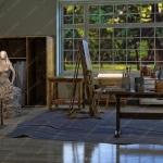逼真艺术家角色与场景3D模型套件