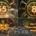 新年倒计时华丽金色时钟粒子环绕节日庆典AE模版