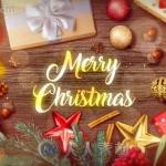 圣诞气息金色礼物木质相框相册动画AE模版