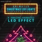 圣诞元素动态闪烁彩色霓虹灯特效PS动作