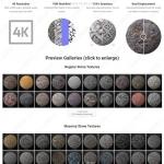 4K分辨率各类石材C4D纹理贴图VRay预设合集