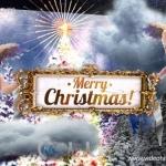 贺卡形式立体圣诞风格小天使转场过渡AE模版