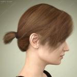 多种颜色女孩短发刘海小马尾发型3D模型