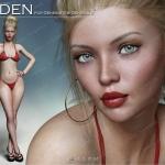 金发碧眼美丽雀斑女人妆容造型3D模型