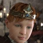 佩戴金色镶钻王冠幼年到老年3D模型