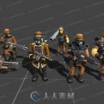 战略游戏多组士兵背包武器炮弹3D模型Unity游戏素材资源