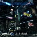 暗黑未来世界科技城市街头建筑物3D模型Unity游戏素材资源