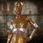 未来科技不同颜色材质拼接金属机器人男孩3D模型