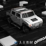 高质量越野车细节3D模型Unity游戏素材资源