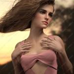 迷人美丽女孩多组妆容眼眉姿势3D模型