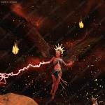魔幻女战士激光闪电火焰魔法符文3D模型