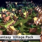 幻想风格村庄小镇完整场景模型Unity游戏素材资源