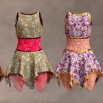 彩色花纹秋季连衣裙服装3D模型合集