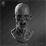 超精细丧尸僵尸雕刻头像3D模型