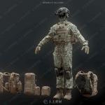 高精度军人战士角色与战术装备3D模型