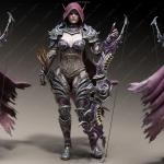 风行者精灵女战士造型服装等3D模型合集