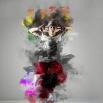 肖像照片水彩混合爆炸艺术特效PS动作