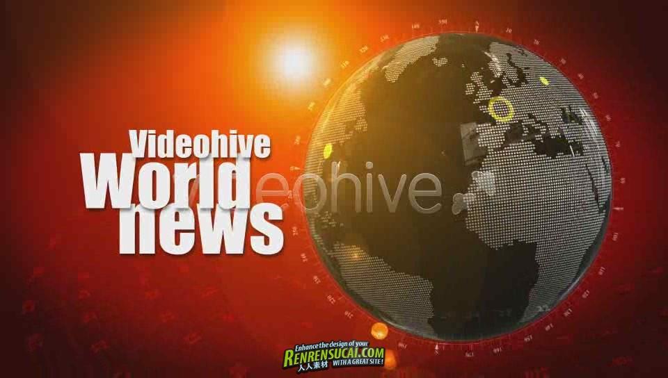 《世界新闻联播 AE片头包装模板》Videohive world news id opener 76524