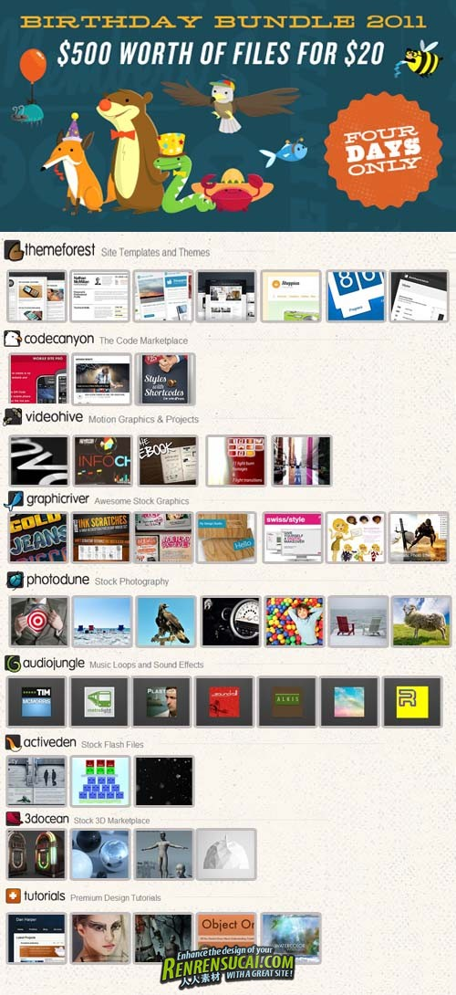 《Envato2011周年素材合辑》Graphic Template Envato Birthday Bundle 2011