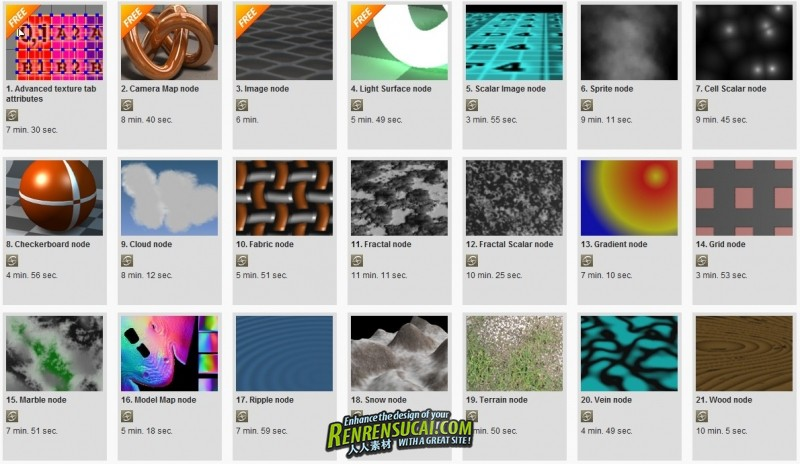 《Softimage纹理材质高级训练教程》Digital-Tutors Softimage Render Tree Reference Library: Texture Nodes