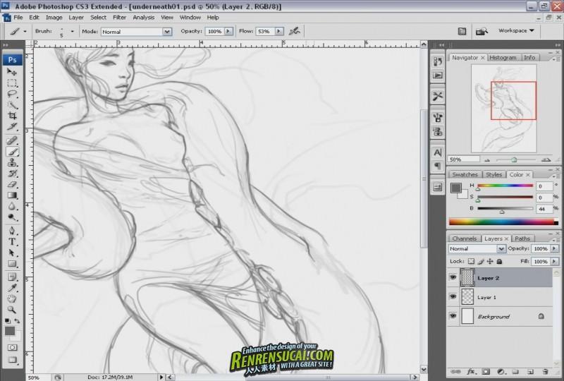 《无极黑-美女与海洋怪兽插画手绘教程》Massive Black Thunderdome Illustration with Jason Chan
