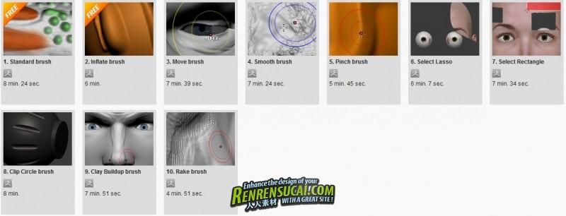 《ZBrush三维笔刷技法高级教程》Digital-Tutors ZBrush Reference Library 3D Brushes