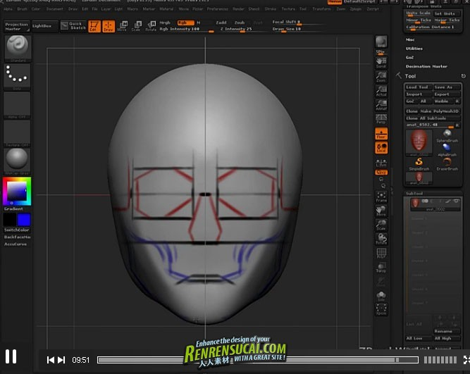 《ZBrush人物脸部造型雕刻艺术高级教程》ZBrushWorkshops Anatomy of the Face for Artists