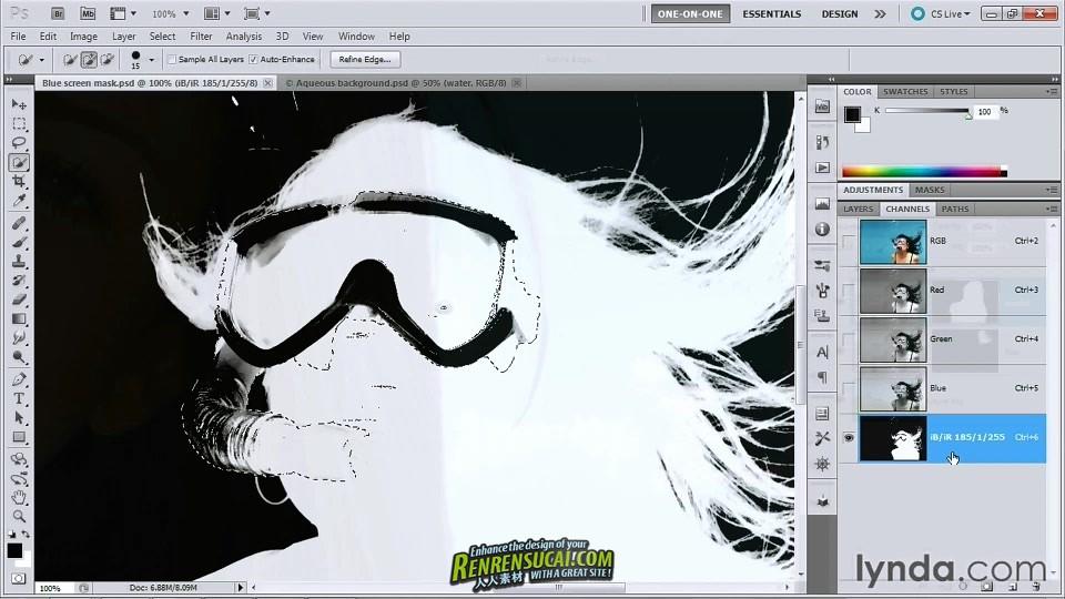 《Photoshop遮罩和合成头发高级教程》Lynda.com Photoshop Masking & Compositing Hair