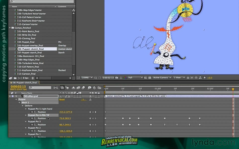 《AE学徒-绘画工具综合教程》Lynda.com After Effects Apprentice 13 Paint and Puppet
