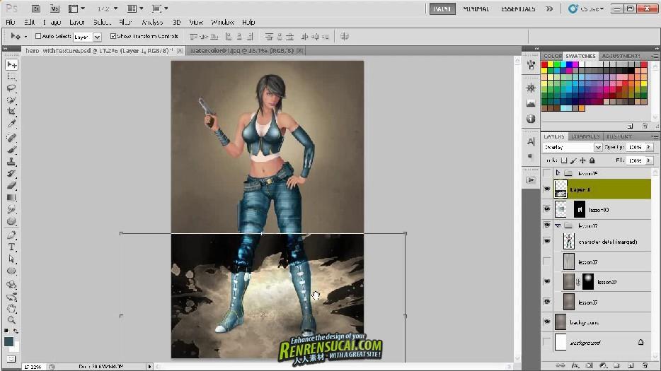 《Photoshop CS5 数字绘画混合纹理提高教程》Digital-Tutors Using Texture to Enhance Digital Paintings in Photoshop CS5