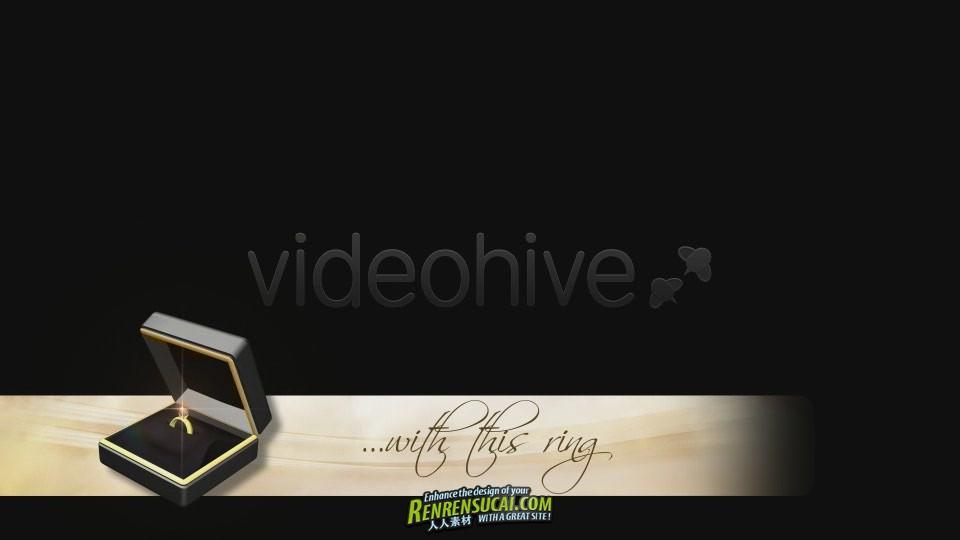 《婚礼视频包装下横栏 视频素材》Videohive lower third wedding rings gift 730007