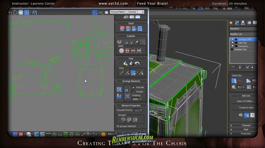 《3dsmax推土机建模教程第二辑》Eat 3D The Dozer Part 2 Low Poly Modeling UVing and Baking