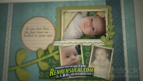 《男婴剪贴簿 AE包装模板》Revostock Baby Boy Scrapbook 152090