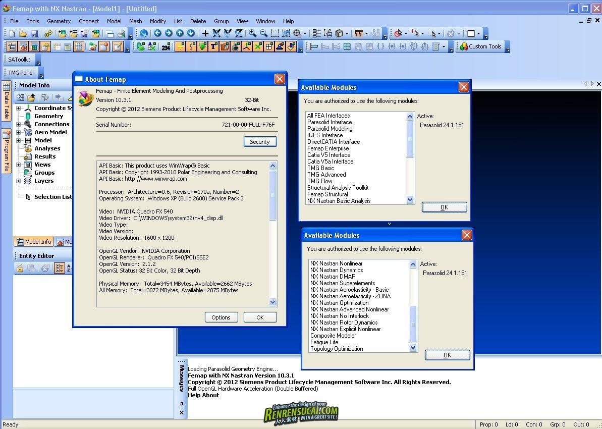 《有限元分析Siemens Femap 10.3.1破解版32/64位win》Siemens Femap 10.3.1 32bit & 64bit with NX Nastran v8p1