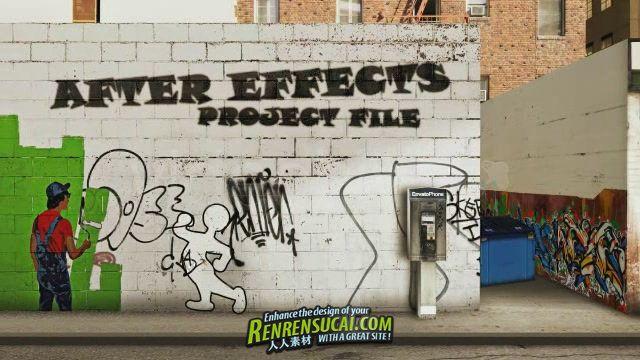 《创意墙壁行走小人 AE模板》Videohive One day 860185 After Effects Project