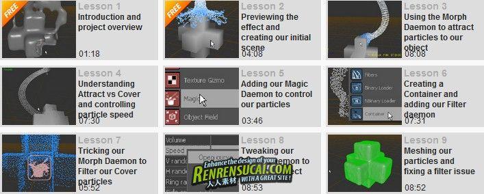 《RealFlow 5最新教程》Digital-Tutors Using Morph and Magic Daemons in RealFlow 5