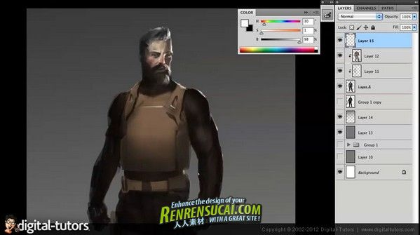 《Photoshop游戏角色概念设计教程》Digital-Tutors Creative Development Character Concepting Workflows for Games in Photoshop with Eric Chiang