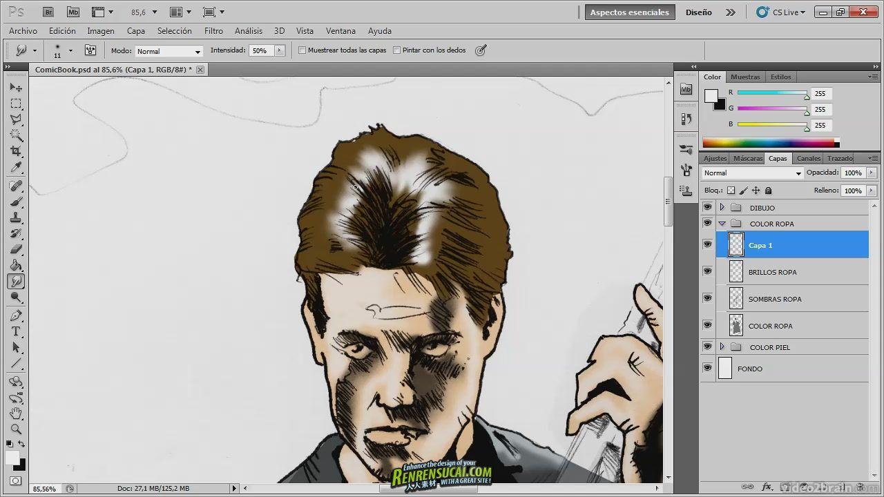 《Photoshop漫画书封面制作教程》video2brain Digital art with Photoshop Comic Book Cover Spanish