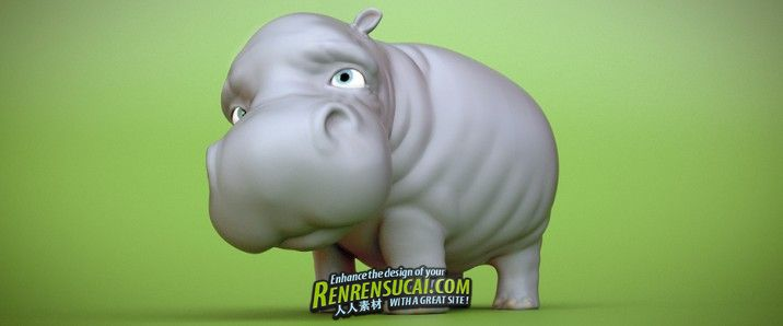 《Blender 2.6小河马建模教程》CG Cookie Modeling a Little Hippo in Blender