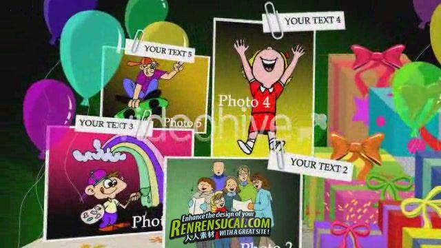 《生日庆祝贺卡折纸板式 AE模板》videohive birthday card pop up v1 82781