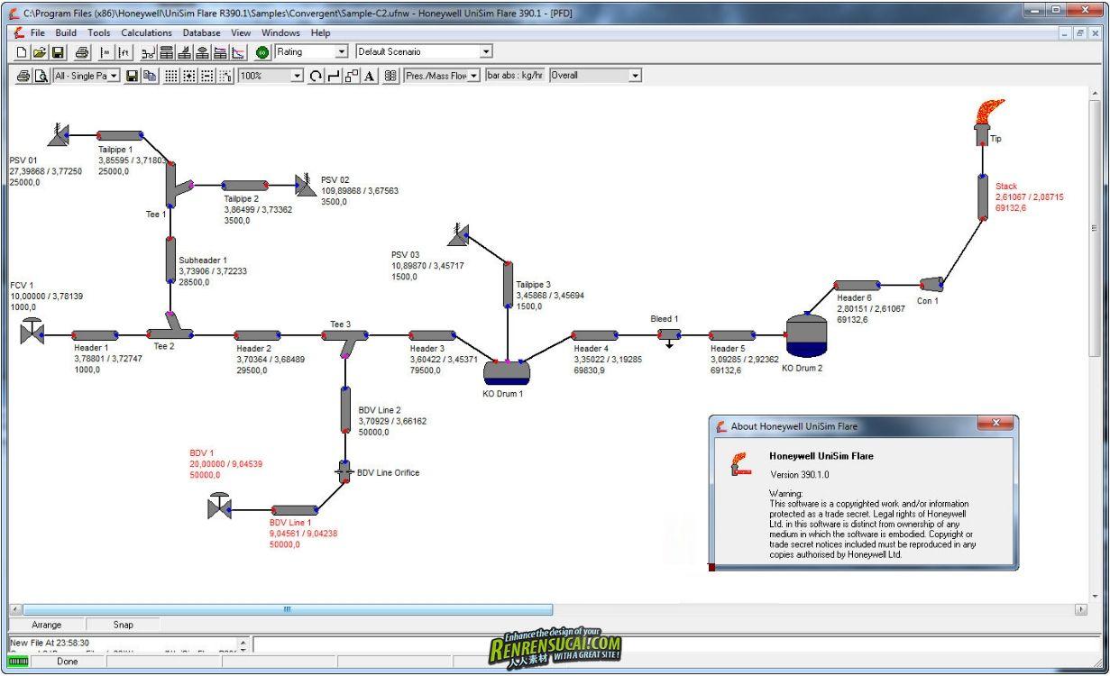 《动态模拟软件》Honeywell UniSim Flare R390.1.0