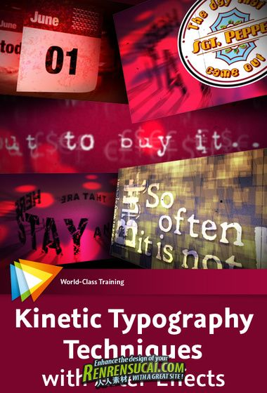 《AE先进设计艺术视频教程》video2brain Kinetic Typography Techniques with After Effects English