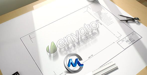 《办公设计桌面 AE模板》videohive architect logo reveal 770729