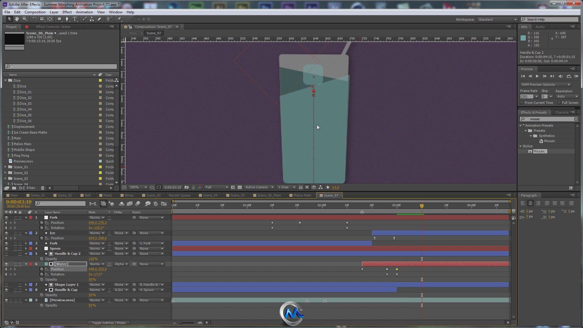 《AE图形变形关键帧动画高级教程》AETuts+ Create a Morphing Simple Summer Shapes Animation