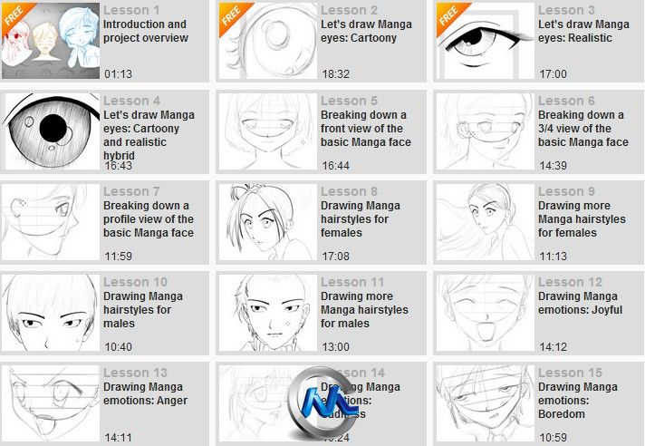《PS绘制漫画人物头部与脸部视频教程》Digital-Tutors Drawing Manga Faces and Heads in Photoshop