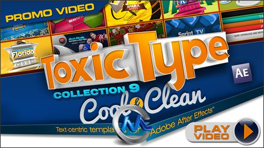 《DJ最强AE字体Logo模板合辑Vol.9》Digital Juice Toxic Type Collection 9 Cool and Clean for After Effects