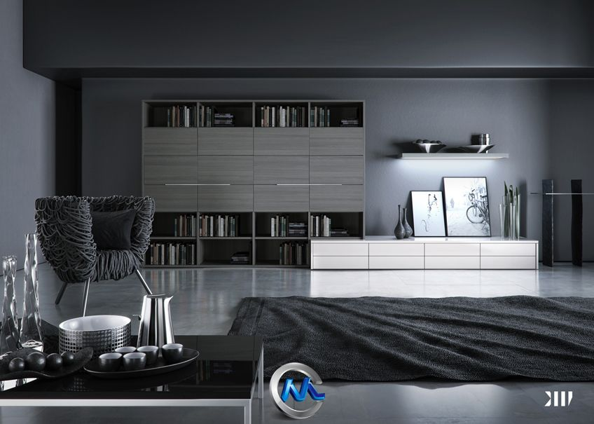 《黑色系室内场景设计3D模型》Blackhaus's Black Living scene